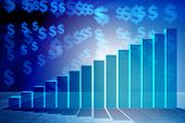 Growing bar charts in economic recovery concept - 3d rendering poster
