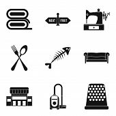 Domestic Staff Icons Set. Simple Set Of 9 Domestic Staff Vector Icons For Web Isolated On White Back poster