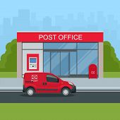 Building Of Post Office And Post Car. Correspondence Isolated Vector Illustration. poster