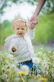 foto of defloration  - Outdoor portrait of a cute little baby in the grass - JPG