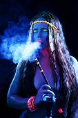 Neon Hippie Girl Smoking Hookah In Blacklight poster