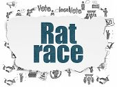 Political Concept: Painted Blue Text Rat Race On Torn Paper Background With  Hand Drawn Politics Ico poster