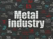 Industry Concept: Painted White Text Metal Industry On Black Brick Wall Background With  Hand Drawn  poster