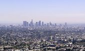 Skyline Of Downtown Los Angeles In A Sunny Summer Day With Clear Blue Sky. Business And Financial Di poster