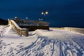 Snow Landscape In Burgas Sea Garden, Near The Culture Center Sea Casino At Blue Hour. Winter Sunset  poster