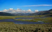 stock photo of lamar  - the lamar valley yellowstone national park at sun set - JPG