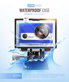 Action Camera And Waterproof Case Poster With Dustproof Case Symbols Realistic Vector Illustration poster