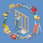 Home Repair Isometric Template. Builder With Tool, Wooden Partition. Repairer In Uniform Holds A Dri poster