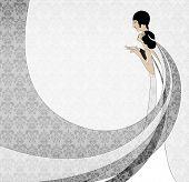 Art Nouveau couple wedding card