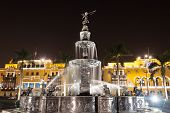 Fountain On The Plaza Mayor In Lima, Peru poster