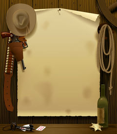 pic of wild west  - Raster version of vector illustration with a Wild West Relay Poster in the environment of cowboy accessories on the wood wall background - JPG