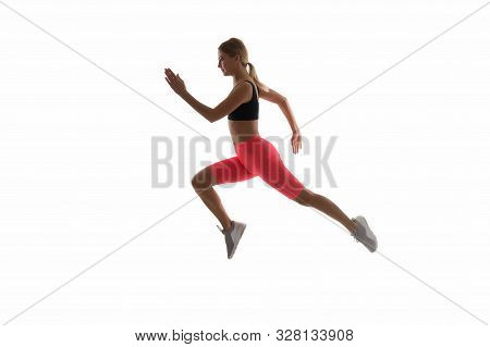 poster of Girl Runner On White Background. Sport Lifestyle And Health Concept. Start Run. Life Is Motion. Woma