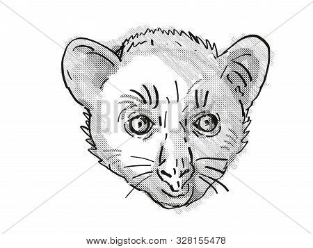 poster of Retro Cartoon Style Drawing Of Head Of An Aye-aye Or Daubentonia Madagascariensis , An Endangered Wi