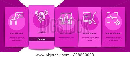 poster of Voice Control Onboarding Mobile App Page Screen Vector Thin Line. Voice Controlling Smart House And