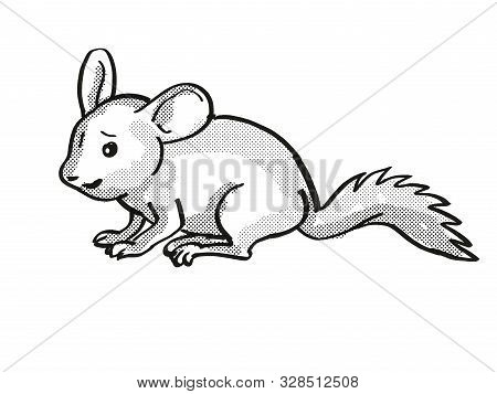 poster of Retro Cartoon Mono Line Style Drawing Of A Chinchilla Or Chinchilla Lanigera, A Medium Sized Rodent