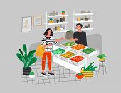 Girl Grocery Shopping Healthy Green Eco Food In A Store Or Market. Daily Life And Everyday Routine S poster