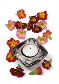 Flores e velas perfumadas