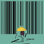 stock photo of barcode  - Hand drawn illustration of man standing beneath raining barcode - JPG