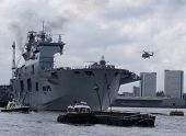 LONDON- MAY 8: The UKs largest warship, HMS OCEAN, docked on the river thames at royal greenwich, fo