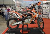 KIEV, UKRAINE - APRIL 29: A new KTM motorbike is on display at the International Specialized Exhibit
