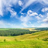 Magnificent pasture landscape and bright blue sky poster