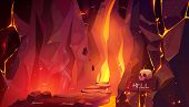 Road To Hell, Infernal Hot Cave With Lava And Burning Fire, Path Paved With Rocks And Randomly Lying poster