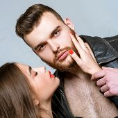 Touch His Bristle. She Adores Male Beard. Passionate Hug. Passionate Couple In Love. Man Brutal Well poster