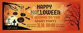 Halloween Night Party Invitation Flyer. Halloween Banner Design With Halloween Pumpkins And Cemetery poster