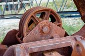 Old Rusty Gears Or Mechanical Parts, Crane Mechanism Closeup poster