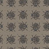 Classic Colors Vector Seamless Pattern In Mondriaan (mondrian) Style Beige Beetles. Background For B poster