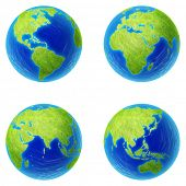 Extra high resolution four parts of the world. 4 globe pieces: Americas, Africa, Eurasia, Asia.