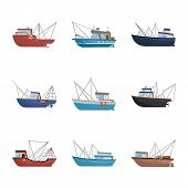 Vector Design Of Boat And Fishing Icon. Collection Of Boat And Vessel Vector Icon For Stock. poster