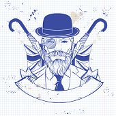 Hand Drawn Sketch, British Man With Beard And Mustaches And Umbrella And Hat. Poster, Flyer Design O poster