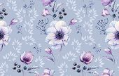 Watercolor Anemones Seamless Pattern. Hand-painted Floral Surface Design With Berries Made Of Black  poster