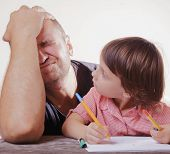 Patience Father Helping Her Daughter With Her Homework Difficulties Homework. poster