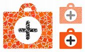 First Aid Mosaic Of Tuberous Items In Different Sizes And Color Tints, Based On First Aid Icon. Vect poster