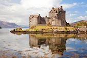 Closeup of Reflection of Eilean Donan Castle, Highland Scotland.