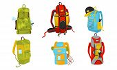 Camping Backpacks. Colorful Vector Illustrated Set. Adventure Sacks For Expedition Concepts. poster