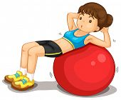 Fitness girl exercising doing situps - EPS VECTOR format also available in my portfolio.