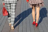 High-heeled Shoes, Female Fashion. Two Stylish Women Walk On The Street In High Heels, Rear View poster