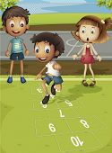 Kids playing hopscotch in park - EPS VECTOR format also available in my portfolio.