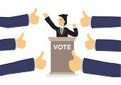 Politics Candidate Getting Praises For Presentation. Concept Of Politics Communication, Recognition  poster