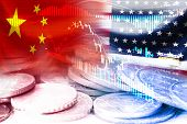 Usa And China Flag On Coins And Stock Market Chart .it Is Symbol Of Economic Tariffs Trade War And T poster