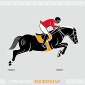 Greek art stylized rider jumping with horse