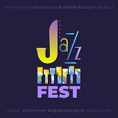 Jazz Music Fest Hand Drawn Flat Colorful Vector Icon. Piano Keyboard Silhouette, Lettering Jazz Desi poster