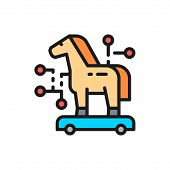 Trojan Horse, Cyber Crime, Virus Flat Color Line Icon. poster