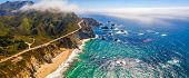 Arial View Of The California Bixby Bridge In Big Sur In The Monterey County Along Side State Route 1 poster
