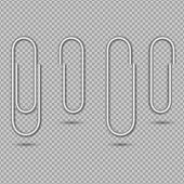 Paper Clip For Attach Note, Office Memo, Post. Metal Paperclip Isolated On Transparent Background. S poster
