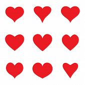 Heart Sketch Icons Set. Cartoon Doodle Red Shape Of Heart. Collection Of Flat Hearts For Greeting Pa poster