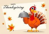 Happy Thanksgiving. Thanksgiving Turkey Holding Domed Tray. Vector Illustration With Maple Leaves On poster